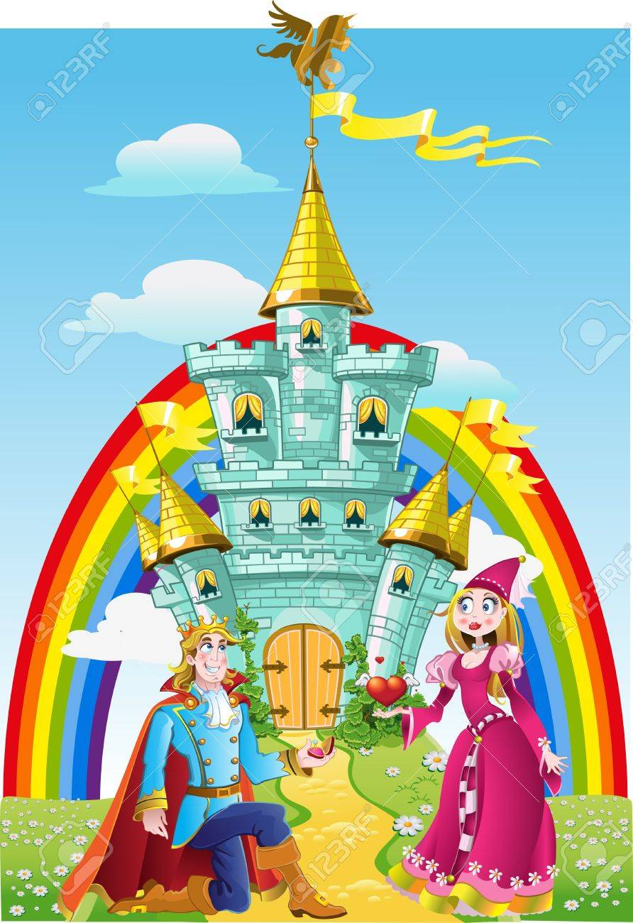 Handsome prince asked the hand of Princess near Magic Castle Stock Vector - 15340127