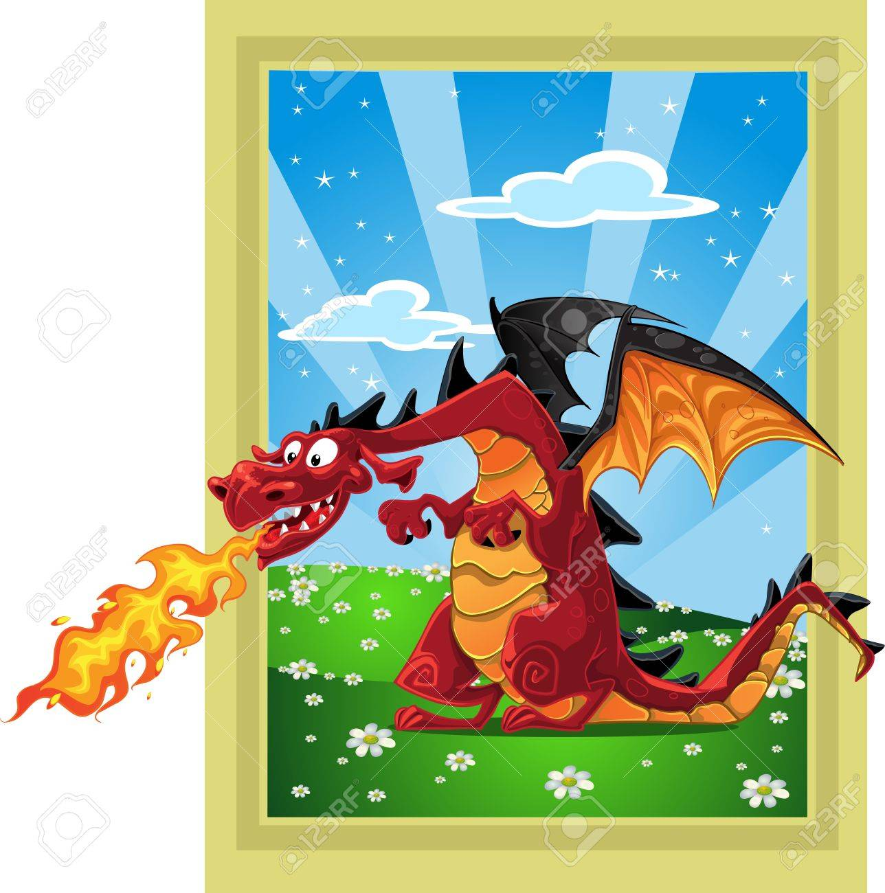 Dragon on the fairytale landscape Stock Vector - 15660667