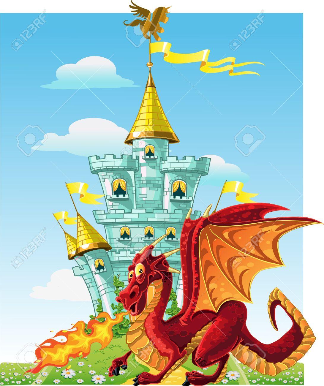 magical fairytale red Dragon near the blue magic castle Stock Vector - 15660656