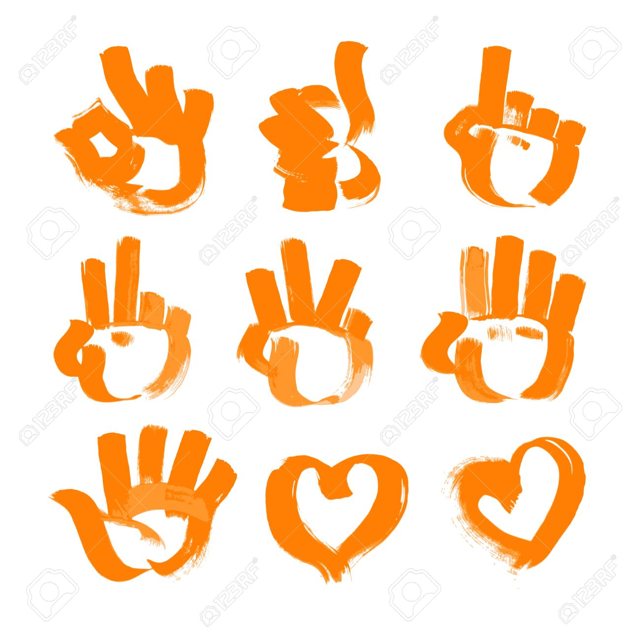 orange brush strokes - numerals- hands, heart and ok symbols painted textured brush. Stock Vector - 15660659