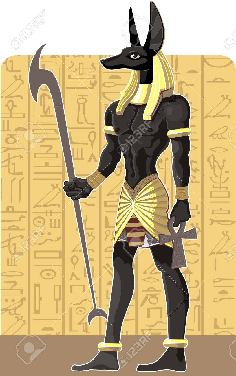 Mighty Great dark Anubis on Egypt background Stock Vector - 15660772
