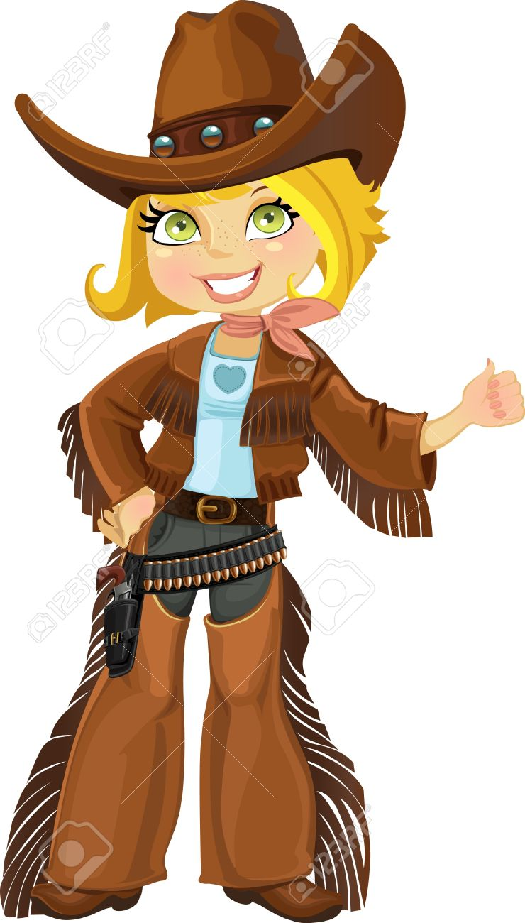Cowgirl with colt Stock Vector - 15660759