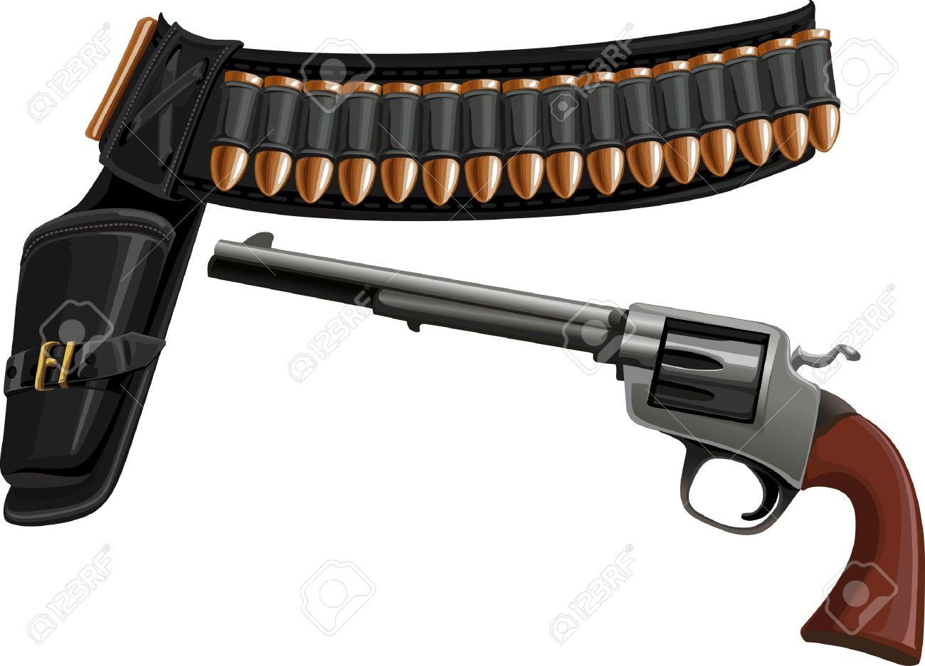 revolver, a belt holster and ammunition Stock Vector - 15660764