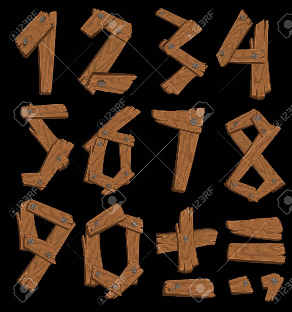 The figures made of wood held together with nails on black background Stock Vector - 15660798