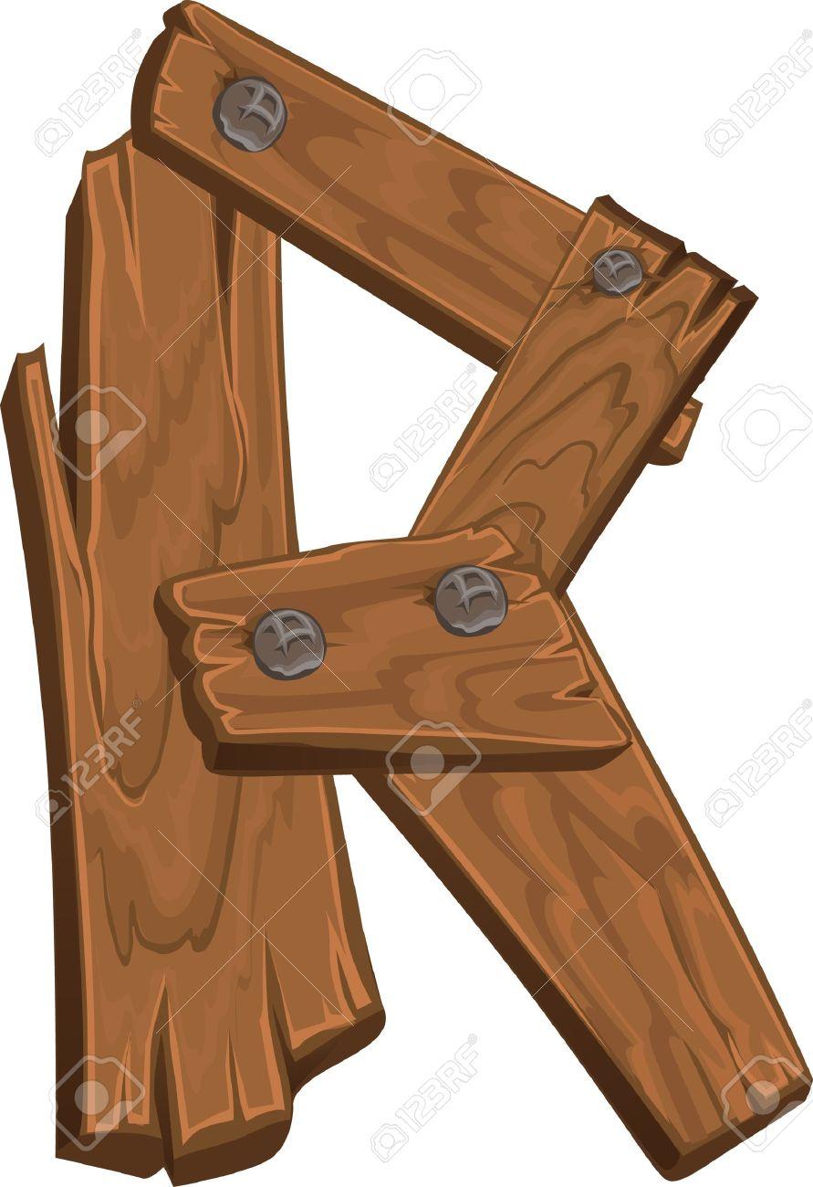 wooden alphabet - letter R Stock Vector - 15660703