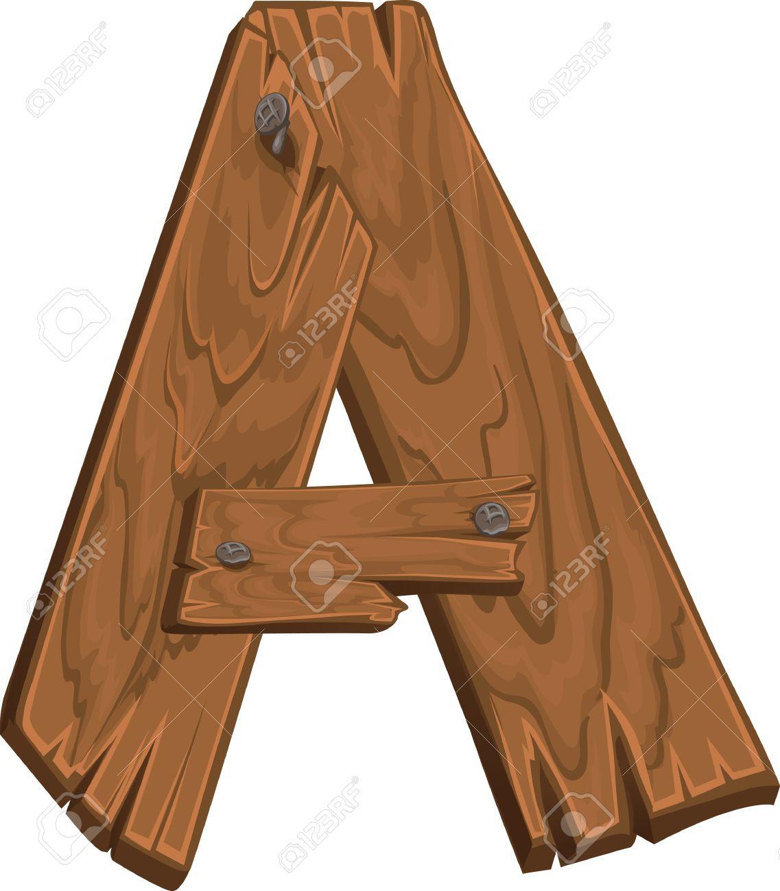 wooden alphabet letter a stock vector 15660785