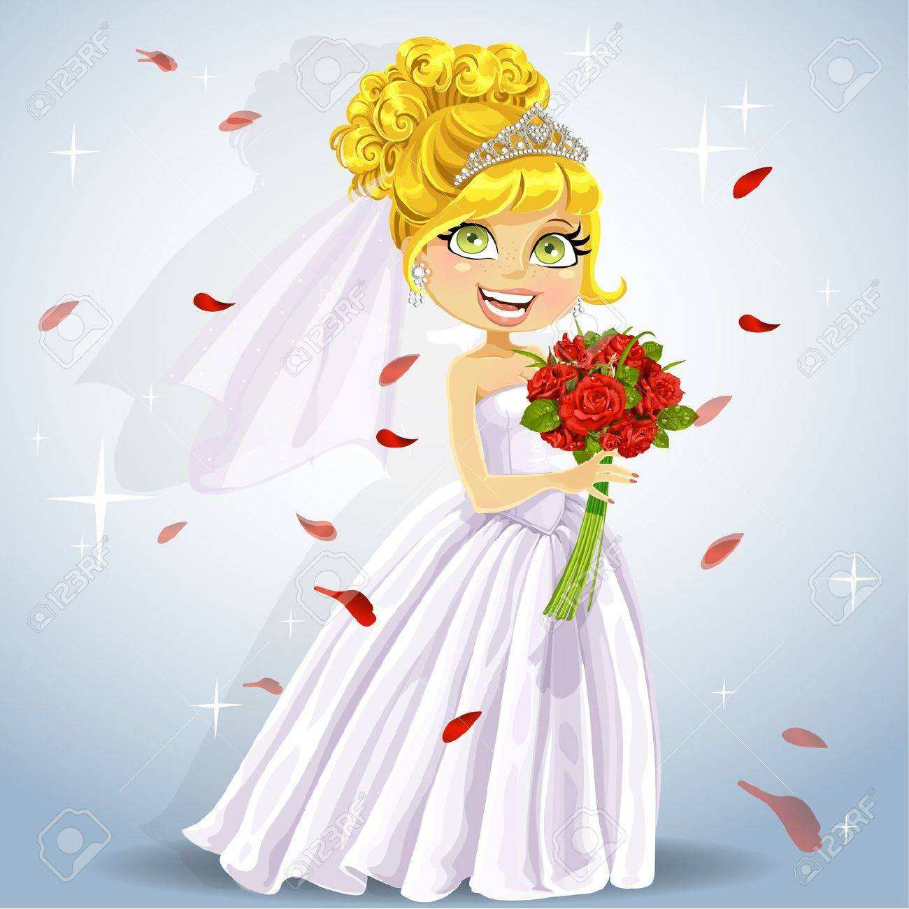 Wonderful shining bride with bouquet Stock Vector - 15662735