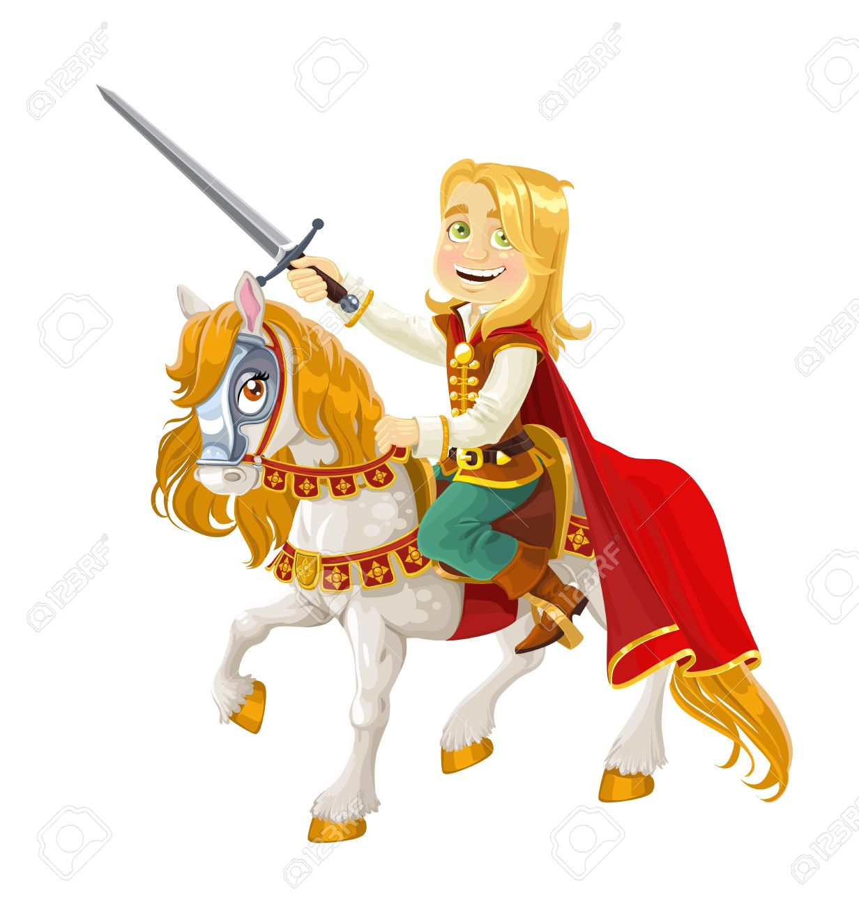 prince charming on a white horse royalty free cliparts vectors