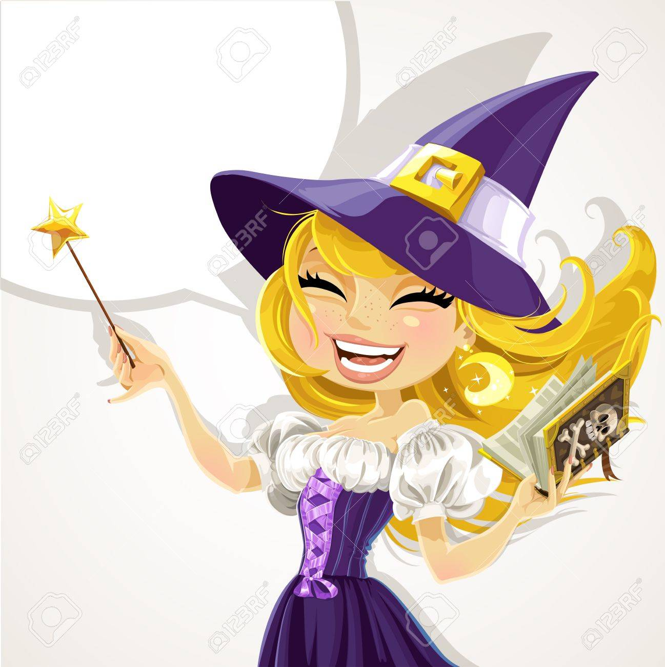 Cute young witch with magic wand and book Stock Vector - 15743896