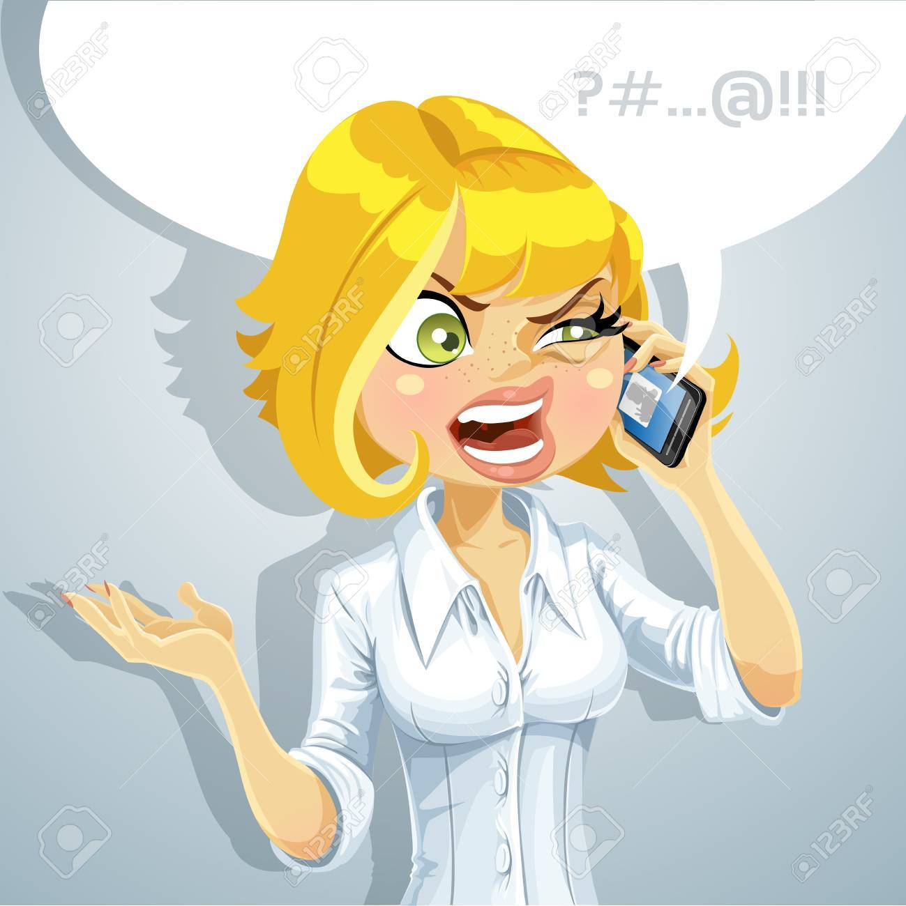 Cute blond girl talking on the phone about something unpleasant Stock Vector - 16030455