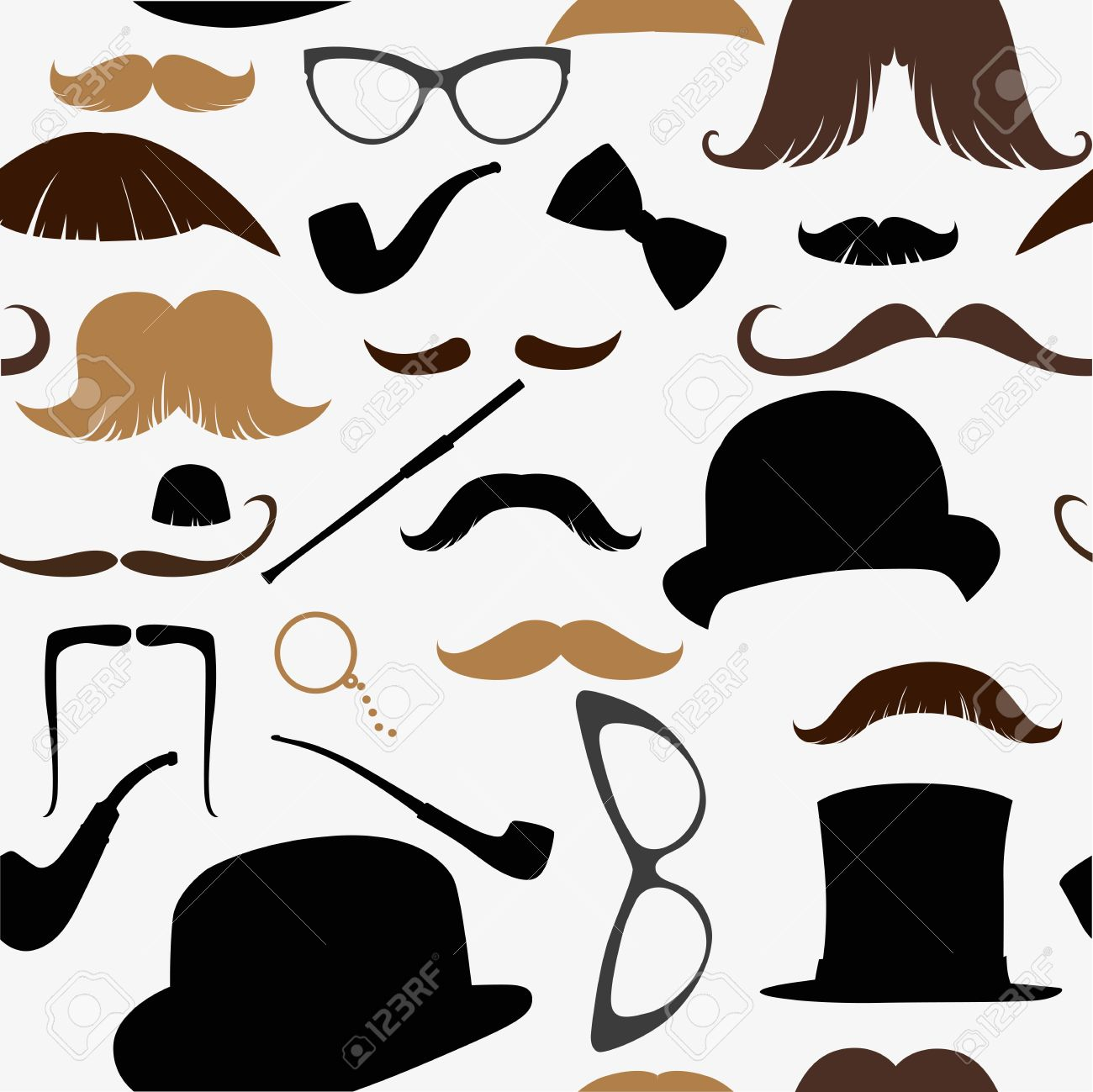 Art Deco seamless pattern, retro style, vector illustration mustache, hat, sunglasses, tube Stock Vector - 16030468