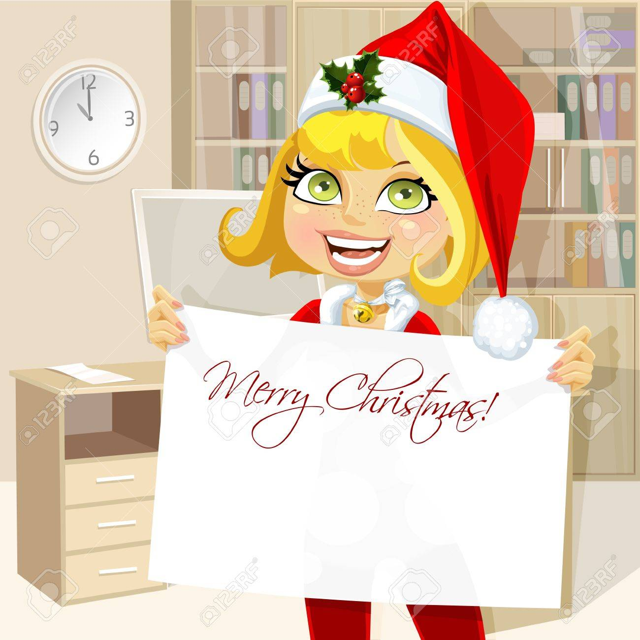 Pretty business woman in office hold banner Merry Christmas Stock Vector - 16435254