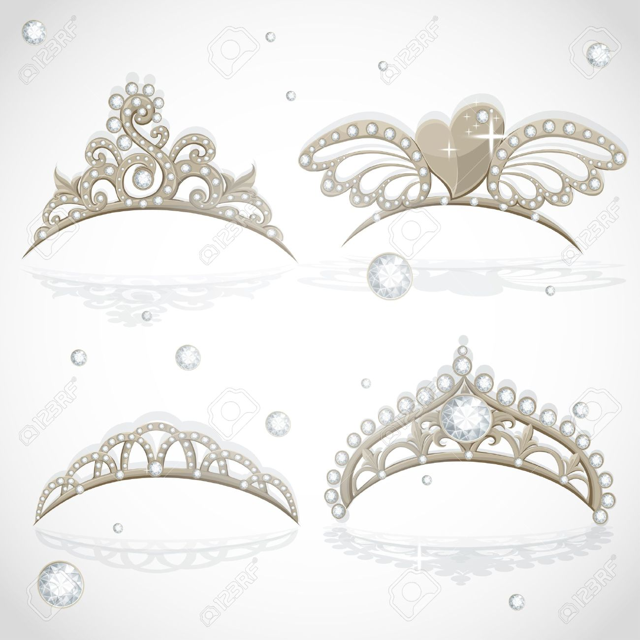 Shining gold girls tiaras with diamonds on the hoop set Stock Vector - 16565817