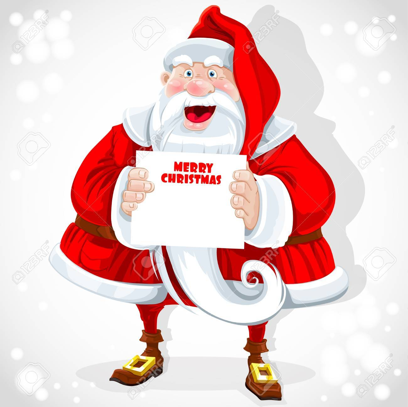Cute Santa Claus Hold Banner With Christmas Greetings Royalty Free
