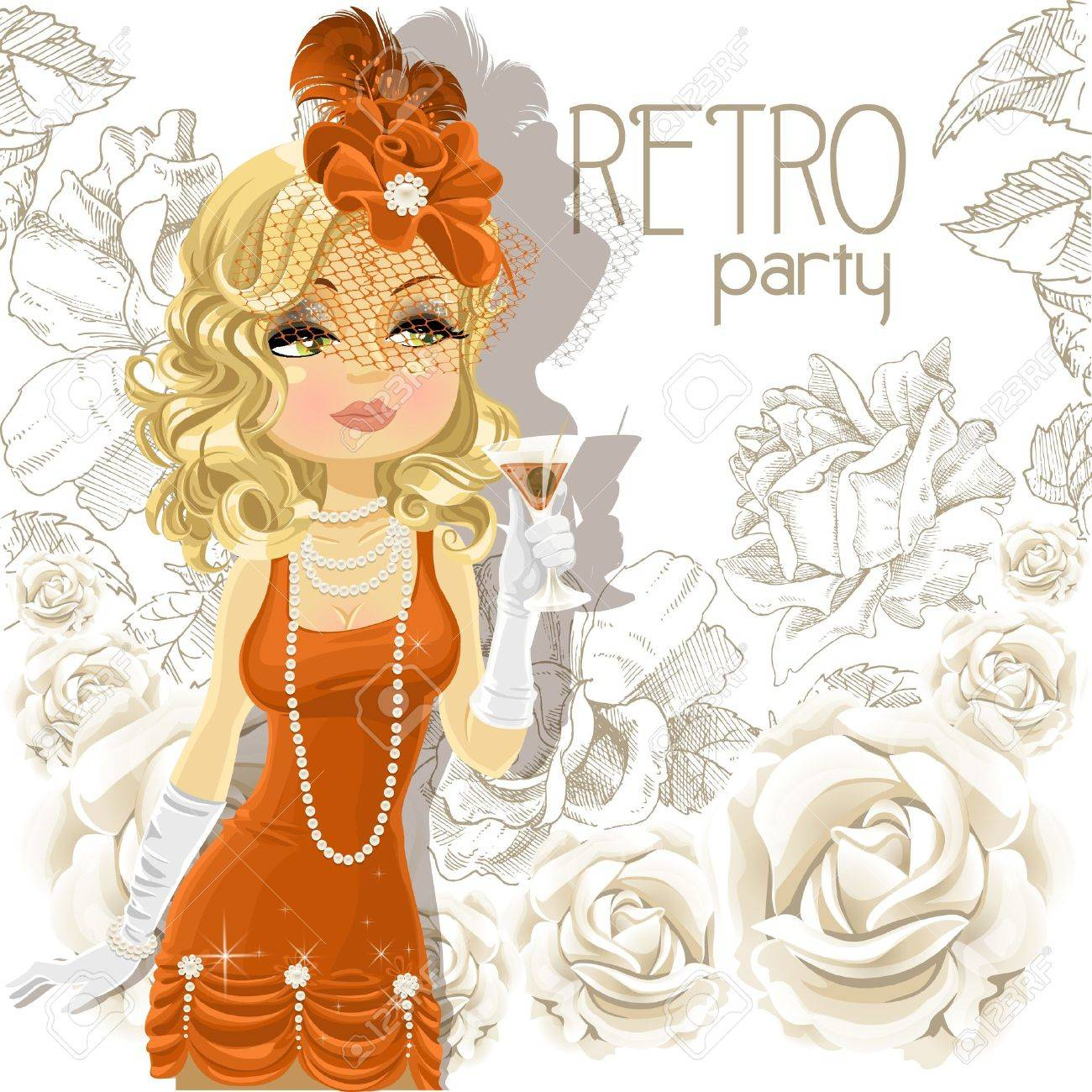 Cute woman with goblet on Retro party card Stock Vector - 16916115