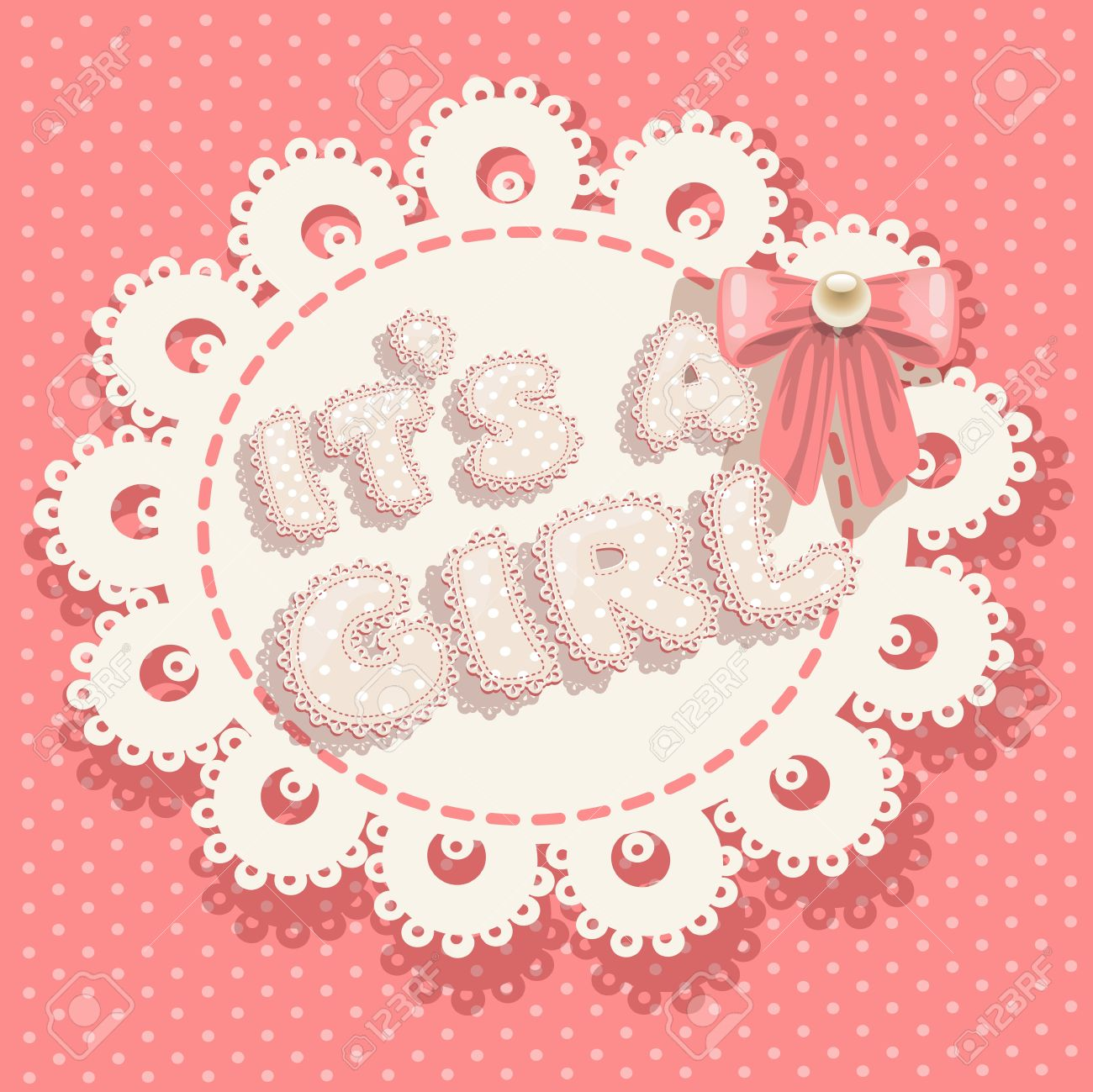 it`s a girl pink baby shower with openwork background and bow Stock Vector - 17102259