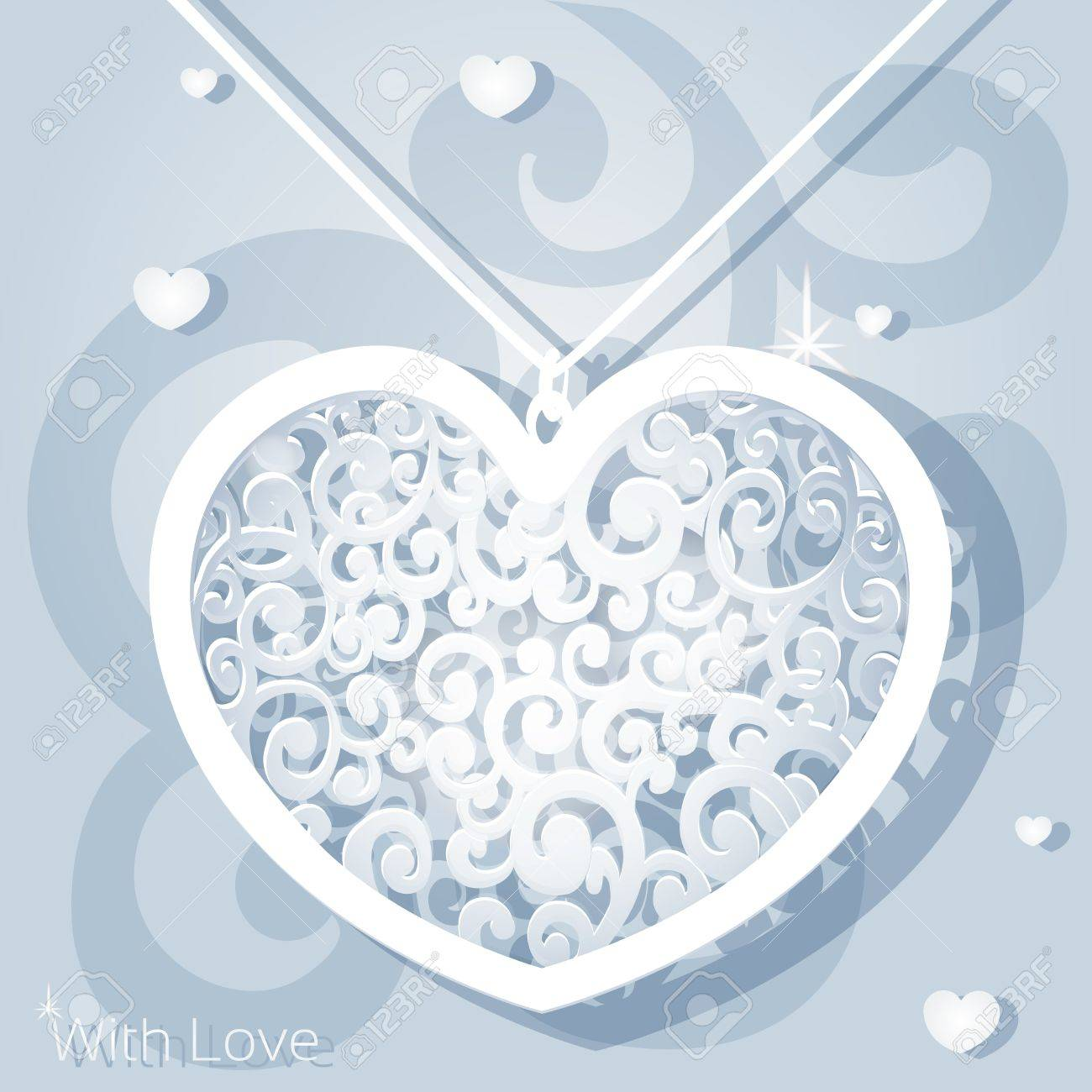 Openwork heart applique paper Stock Vector - 17123027