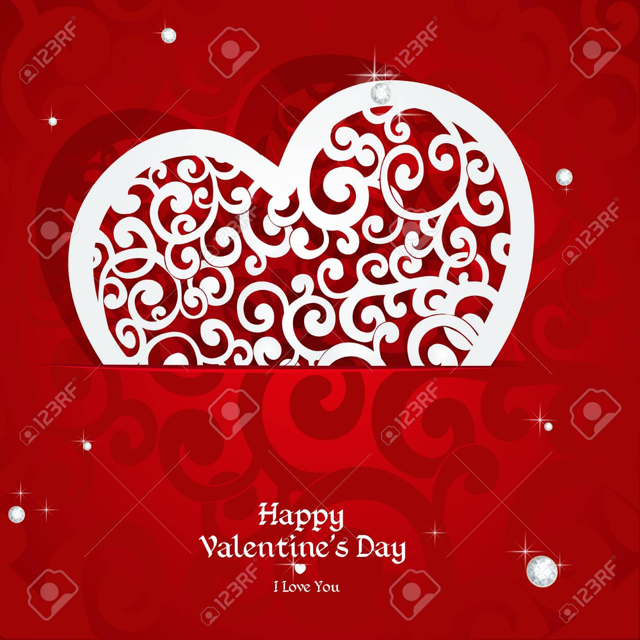 Laced with curls applique Valentine card Stock Vector - 17123025
