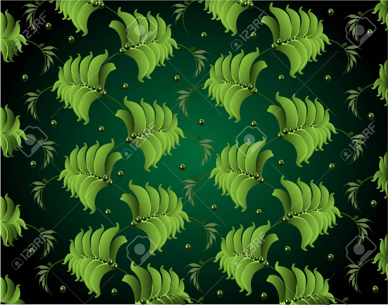 background from green leaves petrikovsky ornament Stock Vector - 17351728