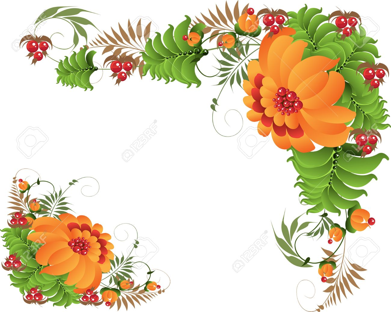 Petrikovsky ornament with orange flowers corners Stock Vector - 17351712