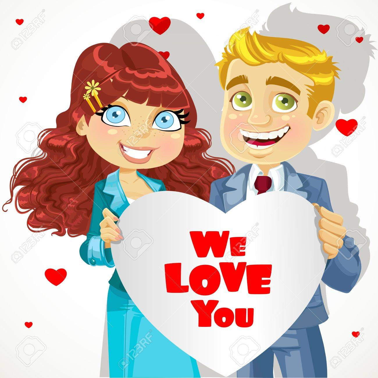 Cute man and woman holding banner heart We love you Stock Vector - 17381052