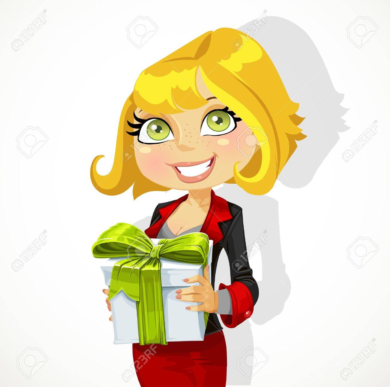 Cute young woman gives a gift Stock Vector - 17525260
