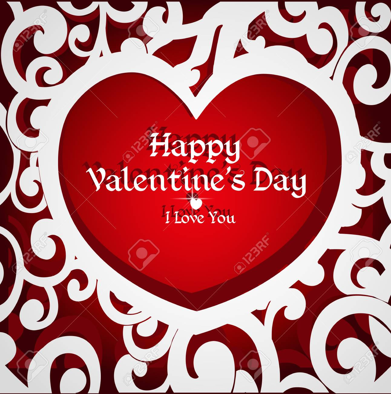 Delicate Openwork Appliques Valentine Card For Your Congratulations