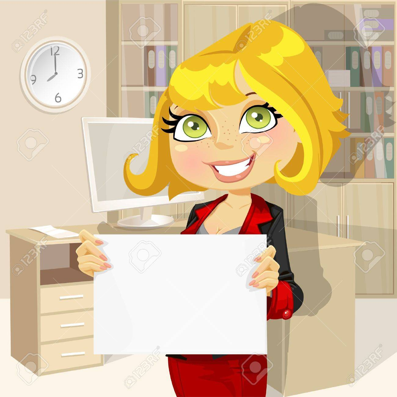 Business lady in office showing blank banner Stock Vector - 18421219