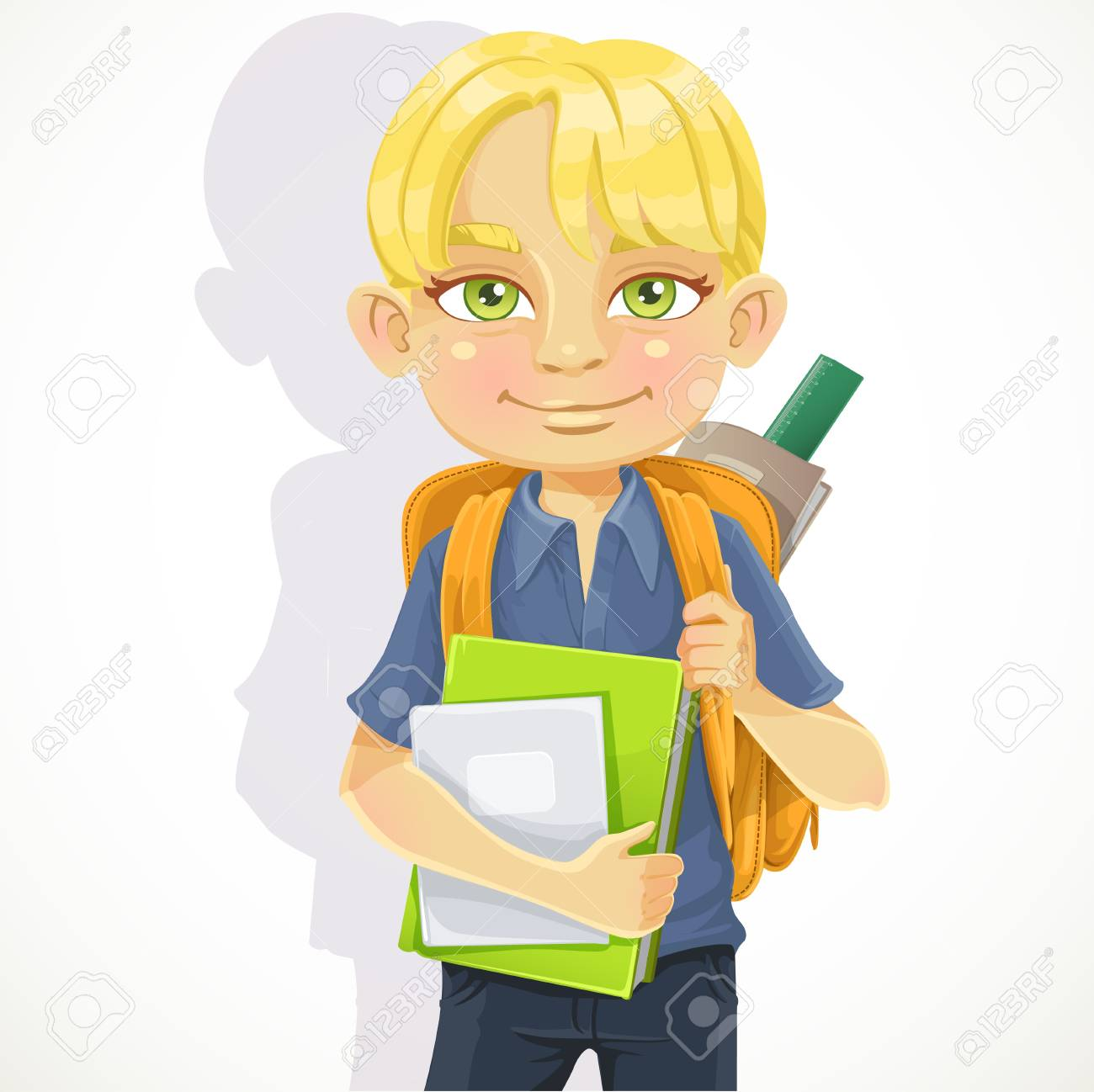Cute schoolboy with textbooks and notebooks backpack Stock Vector - 18499509