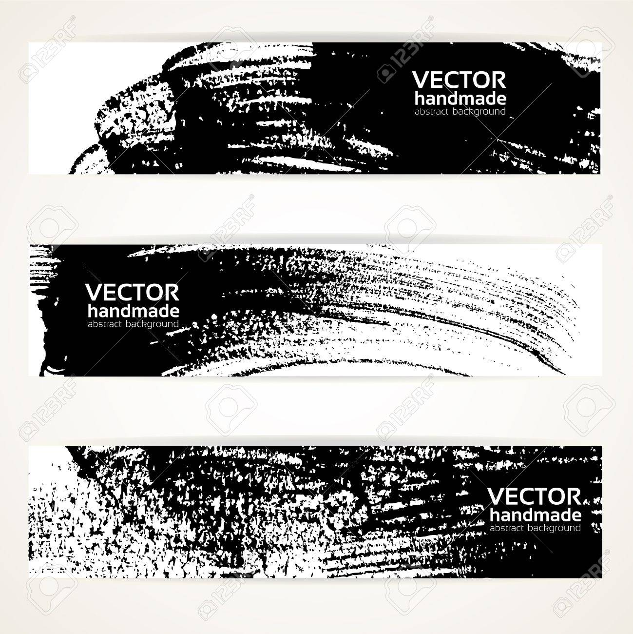 Abstract black and white brush texture handdrawing banner set. Stock Vector - 18708735