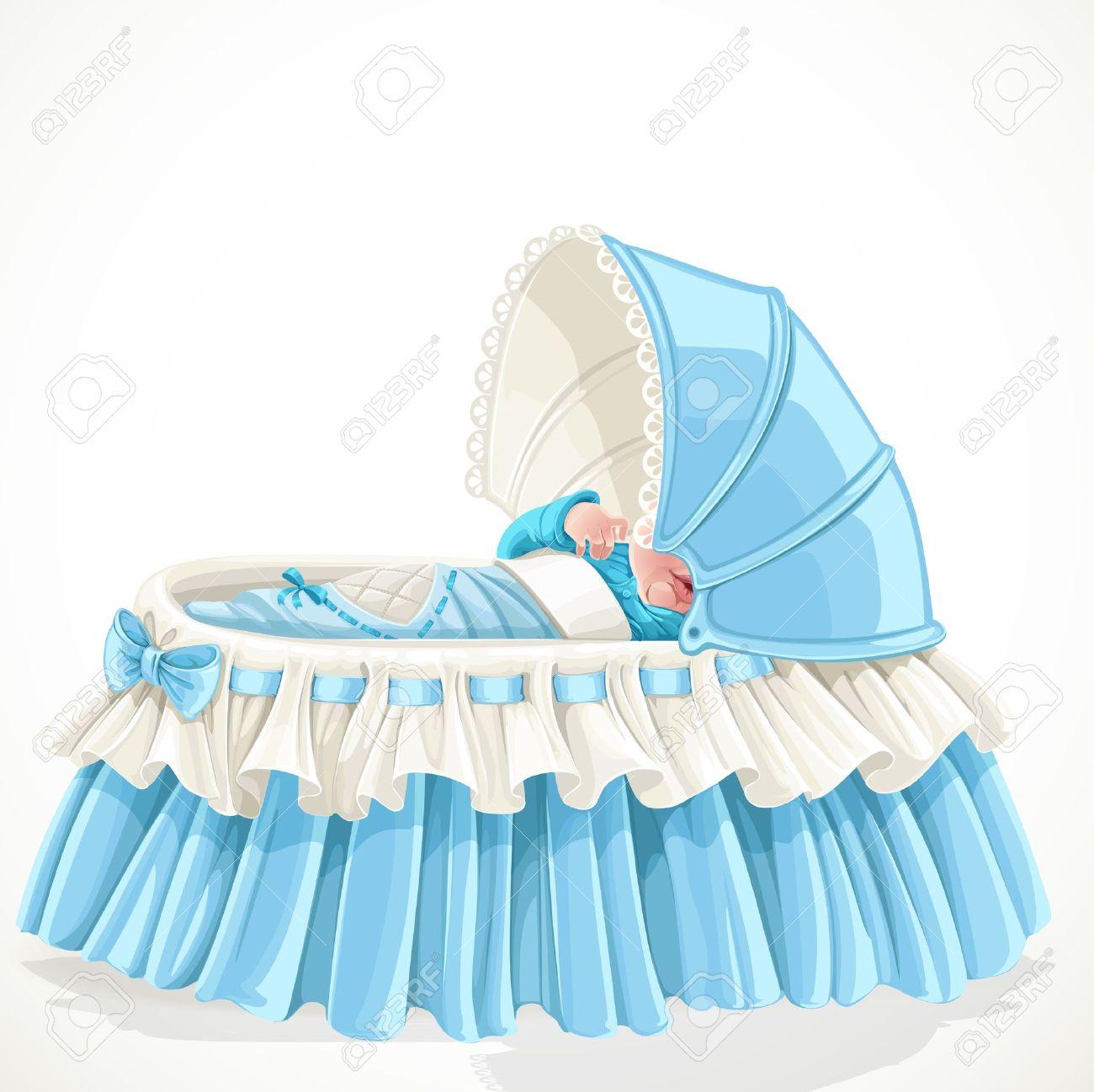 Bebé En Cuna Azul Aislado Sobre Fondo Blanco Ilustraciones ...
