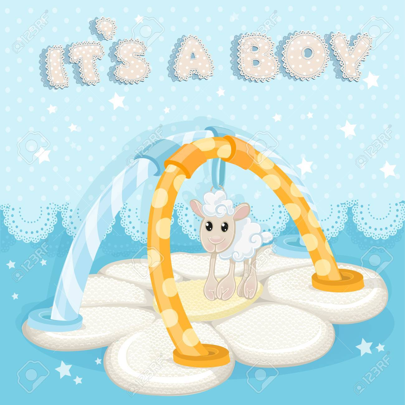 Greeting card with a children s rug is a boy Stock Vector - 19569874