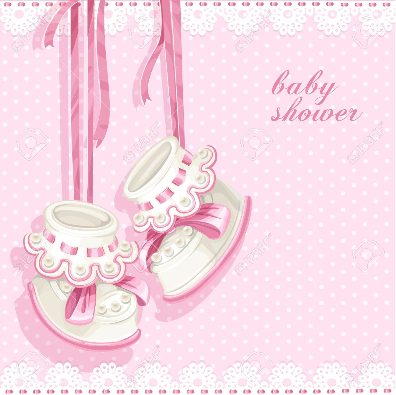 Baby Shower Card With Pink Booties And Lace Royalty Free Cliparts