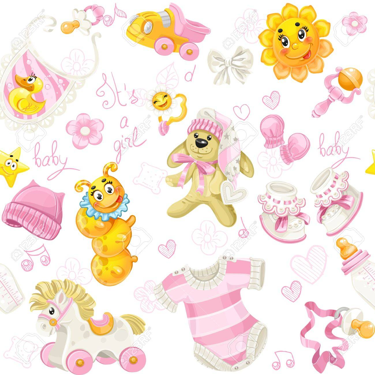 Seamless pattern of clothing, toy and stuff it s a girl Stock Vector - 20184057