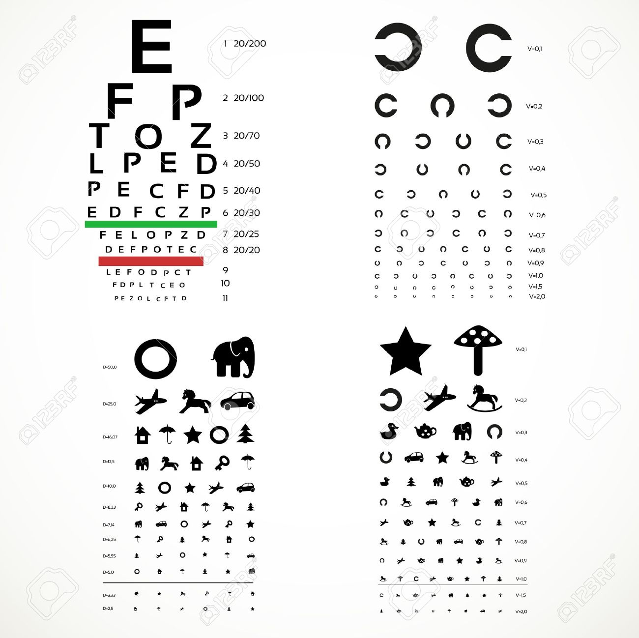 Various versions of the table for eye tests  the adult and children Stock Vector - 20262355