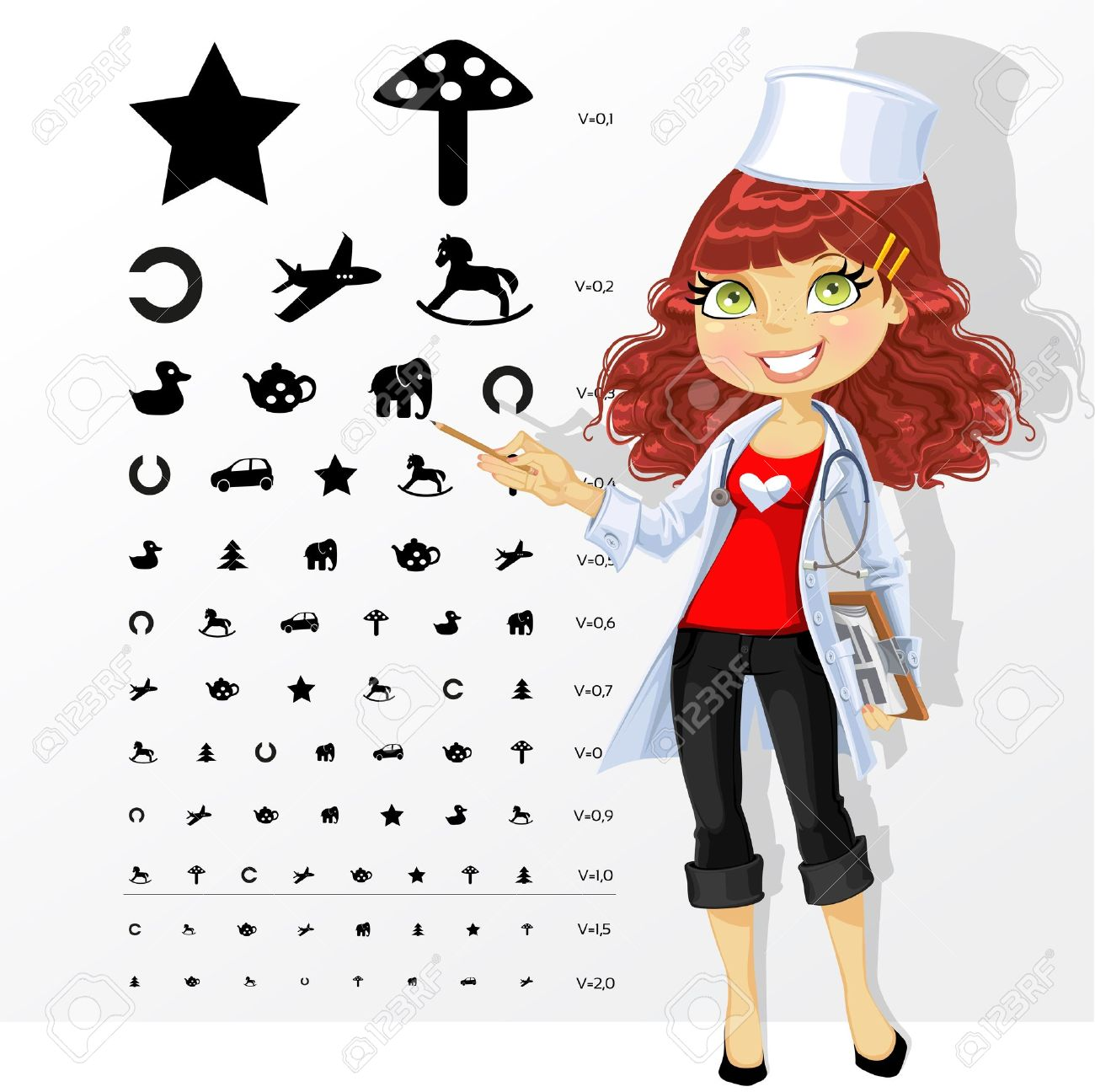 Woman doctor - ophthalmologist shows children's table for eye tests Stock Vector - 20262357