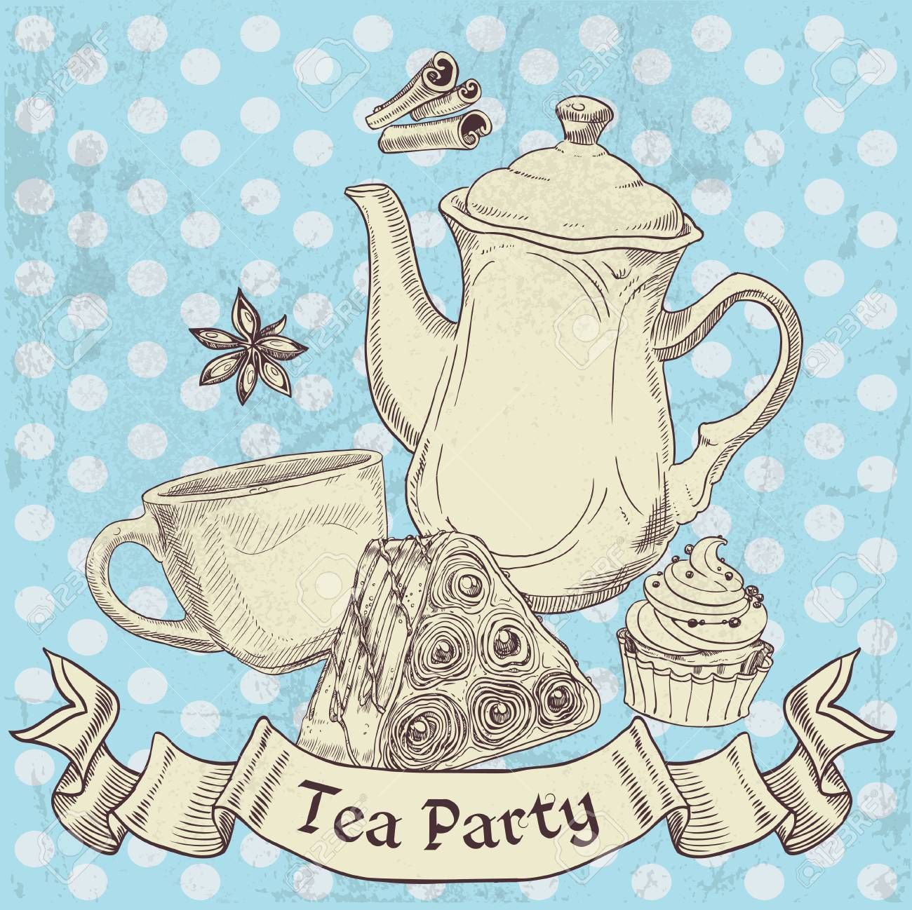 Vintage grunge banner sweets and tea - tea party Stock Vector - 20762033
