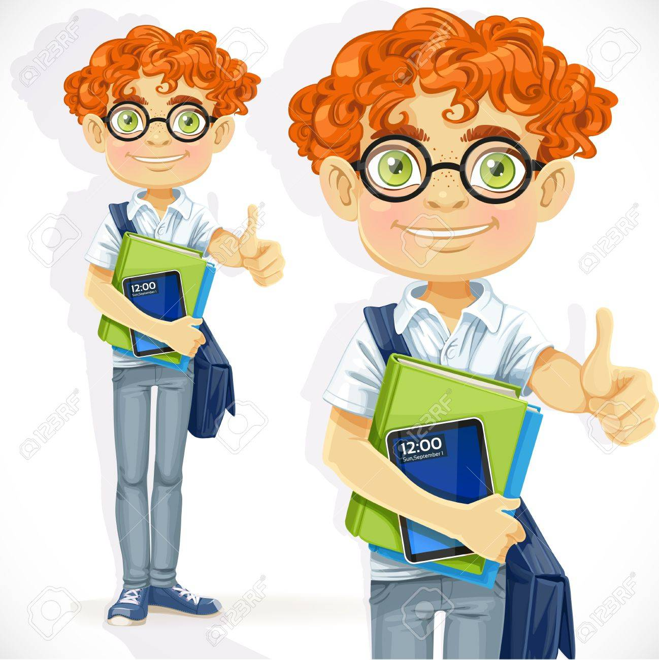 Cute boy in glasses with textbooks Stock Vector - 21261704