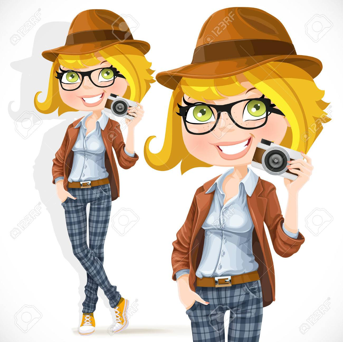 Hipster girl with a camera isolated on white background Stock Vector - 22401527