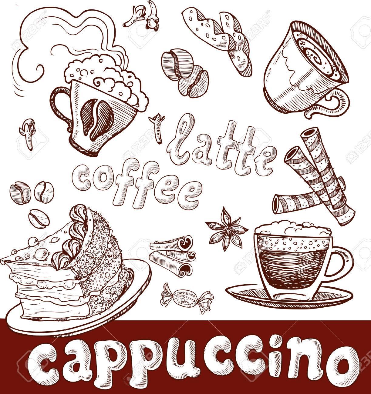コーヒーカプチーノ遅くお菓子手書きのイラスト素材ベクタ