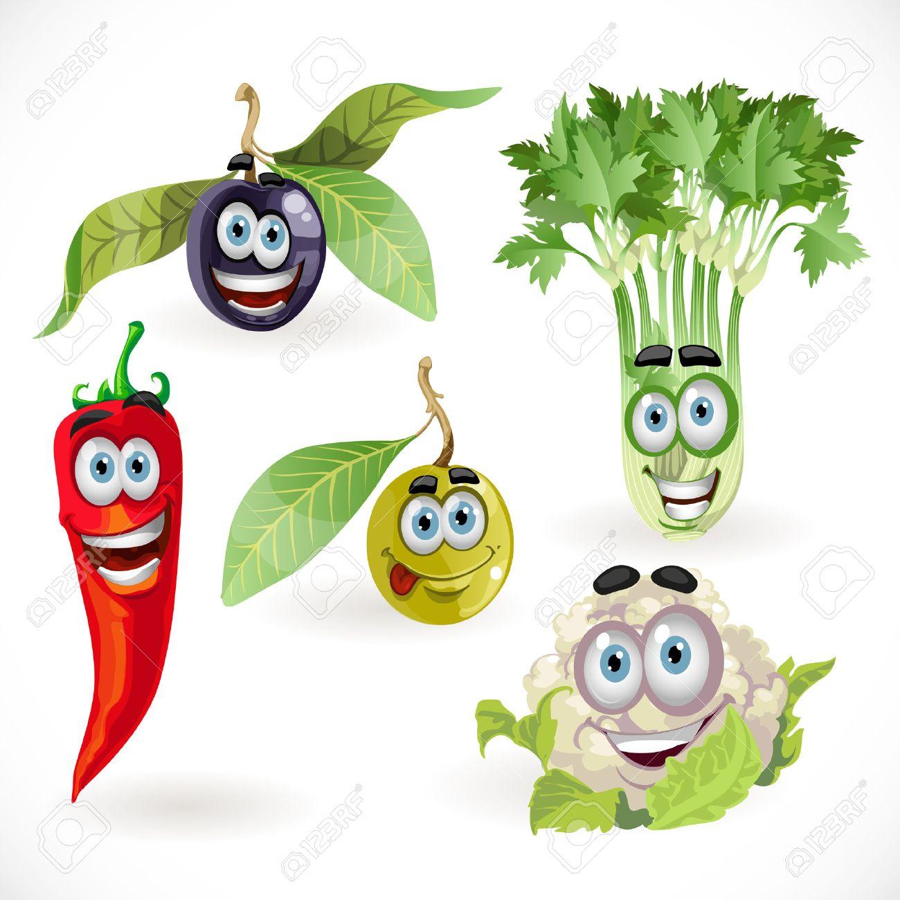面白いかわいい野菜笑顔 - セロリ、カリフラワー、オリーブ、唐辛子