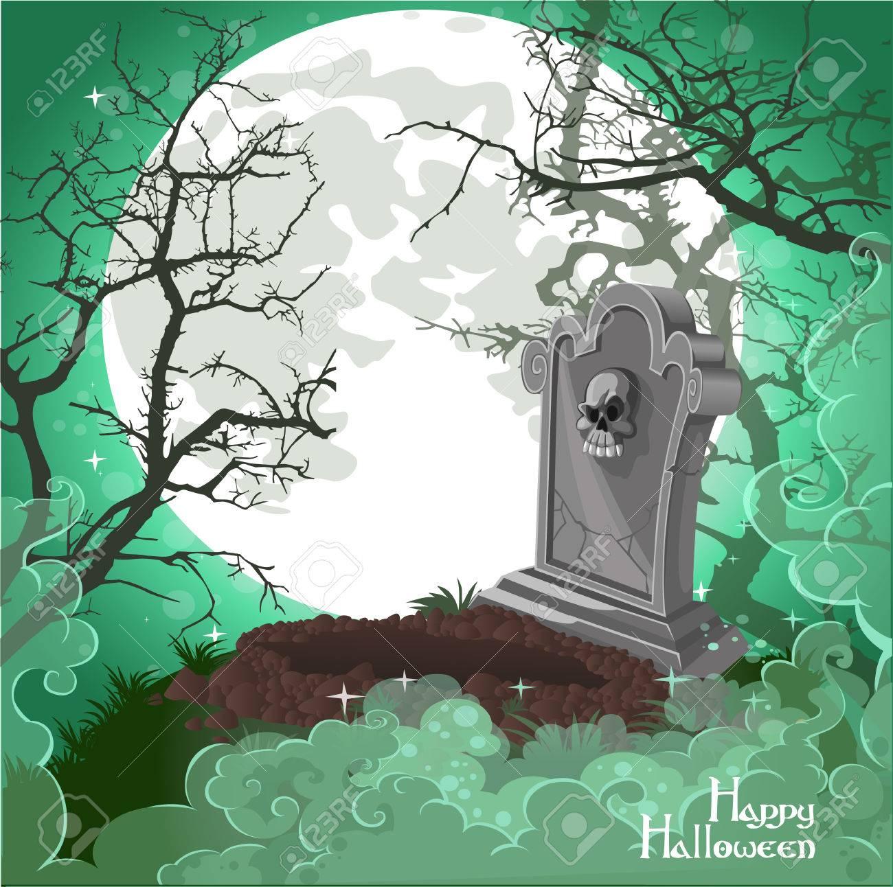 Halloween Decorations Tombstone On Halloween Card