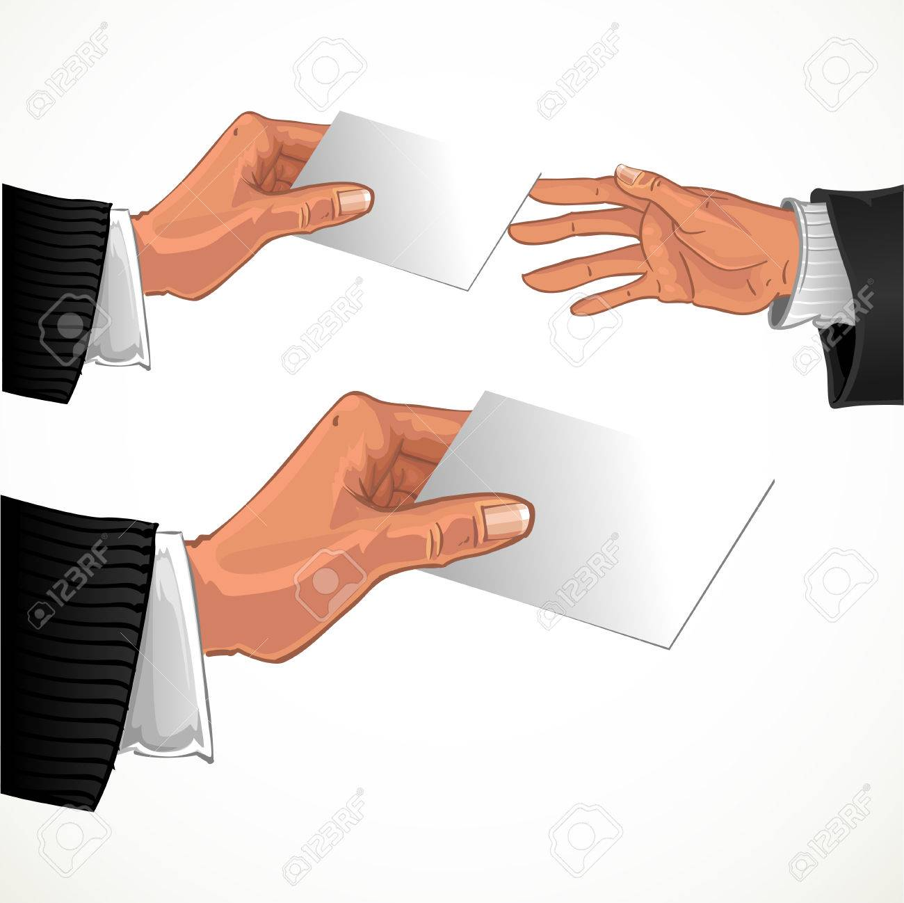 Male hand pass bwhite glossy business card to other male hand male hand pass bwhite glossy business card to other male hand stock vector 23149556 reheart Images