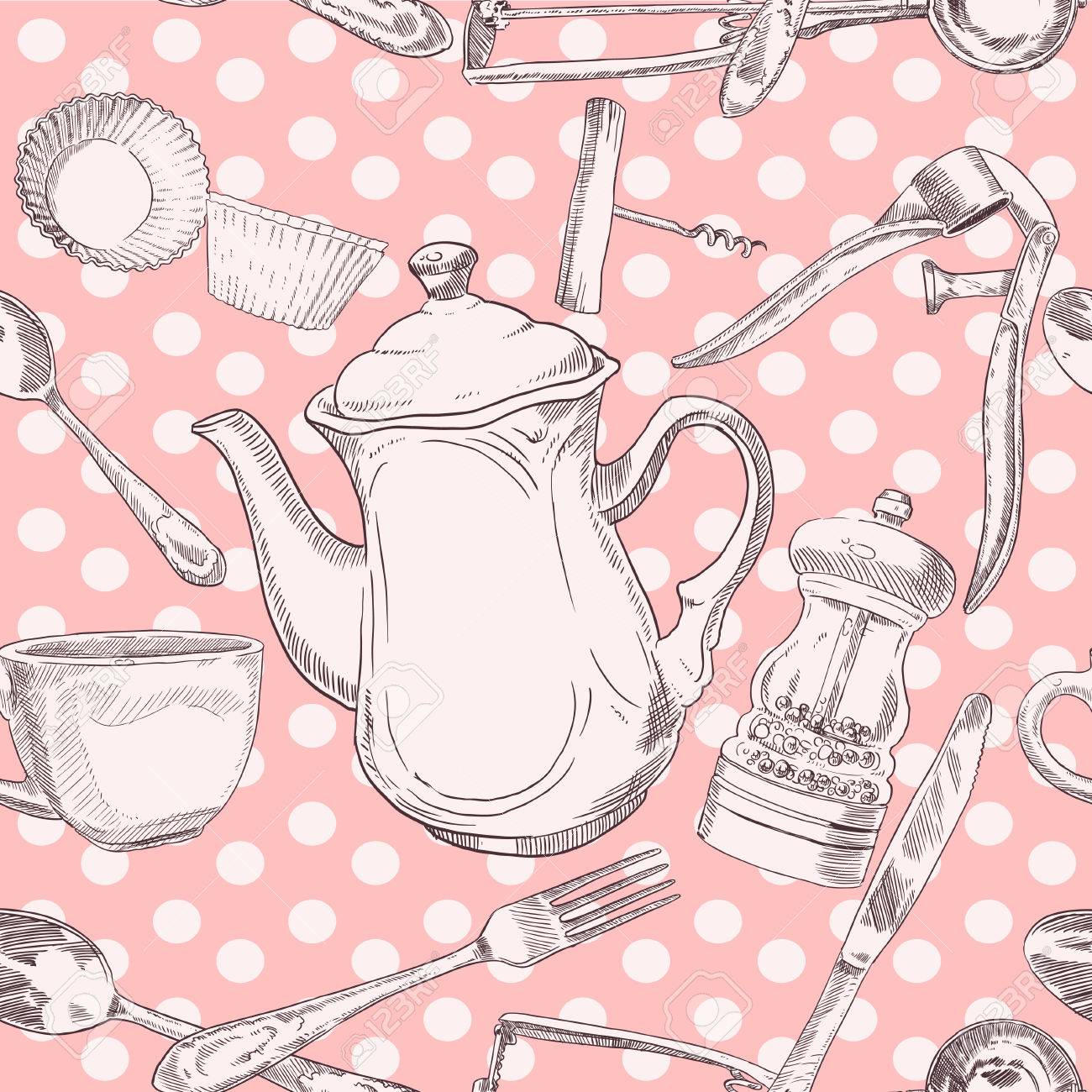 Seamless pattern of kitchen utensils vintage in light colors Stock Vector - 23149833