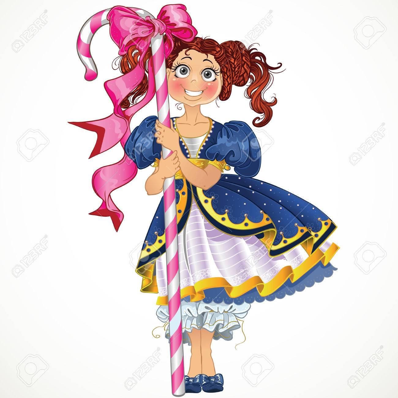 お菓子と小さなかわいい女の子のイラスト素材ベクタ Image 23150128