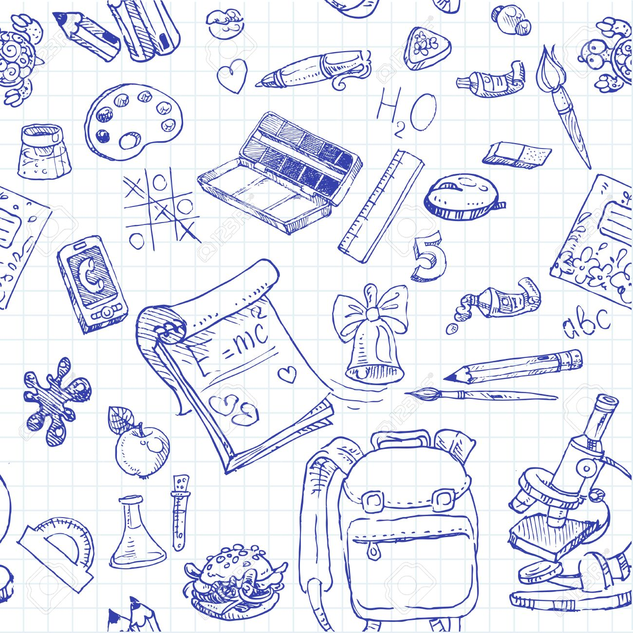 Back to School doodles seamless background - 23150739