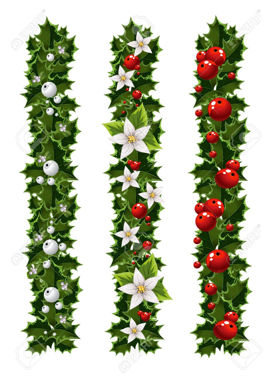 green christmas garlands of holly and mistletoe royalty free