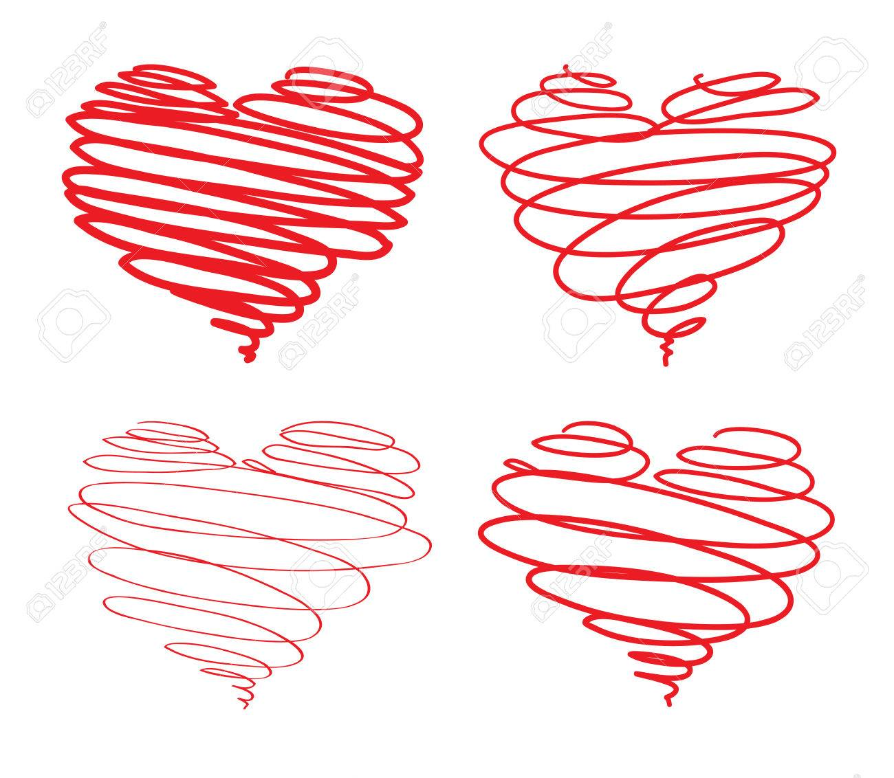 Hearts from lines Stock Vector - 23152089