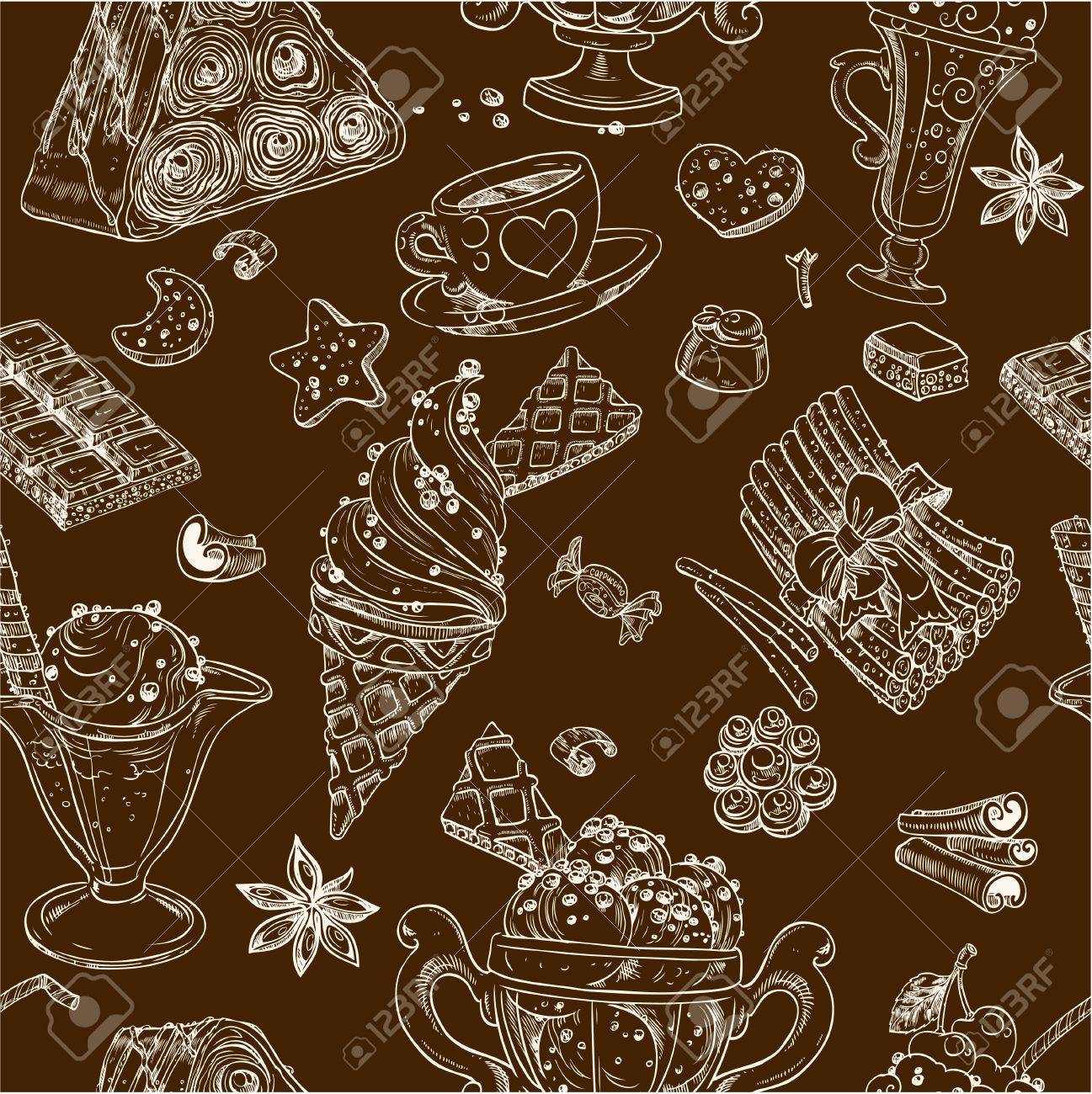 Dark seamless pattern of candy and ice cream Stock Vector - 23898508