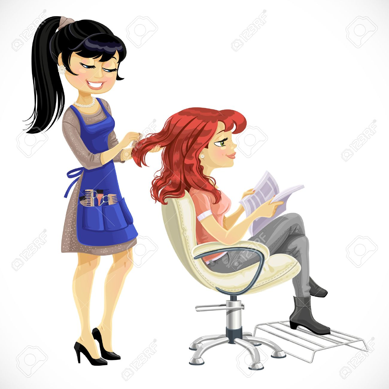 Hair salon chair isolated stock photos illustrations and vector art - Hair Salon Equipment Barber Combing Cute Client Girl